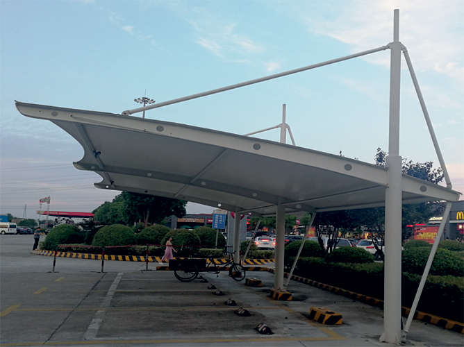 膜结构车棚 施工工程过程及优点