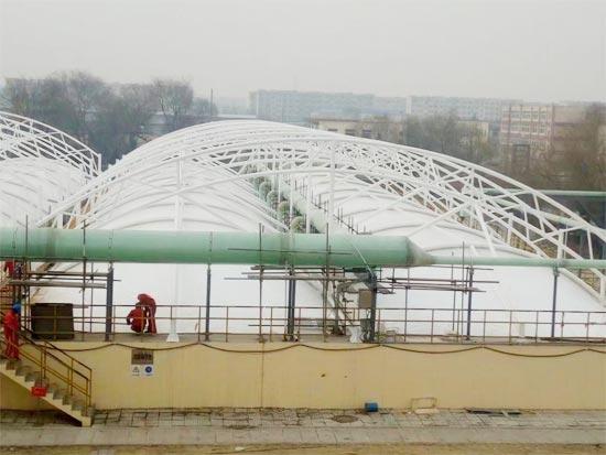 污水池膜结构加盖除臭是怎么设计的?