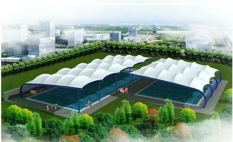 山东网球场膜结构屋面/篮球场屋面/门球场雨棚安装